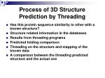 process of 3d structure prediction by threading
