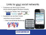 links to your social networks
