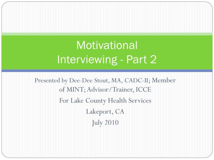 motivational interviewing part 2 n.