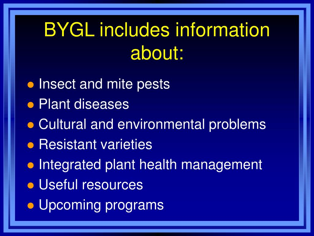 BYGL includes information about: