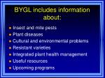 bygl includes information about
