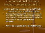 le contrat civil thomas hobbes le l viathan 1651