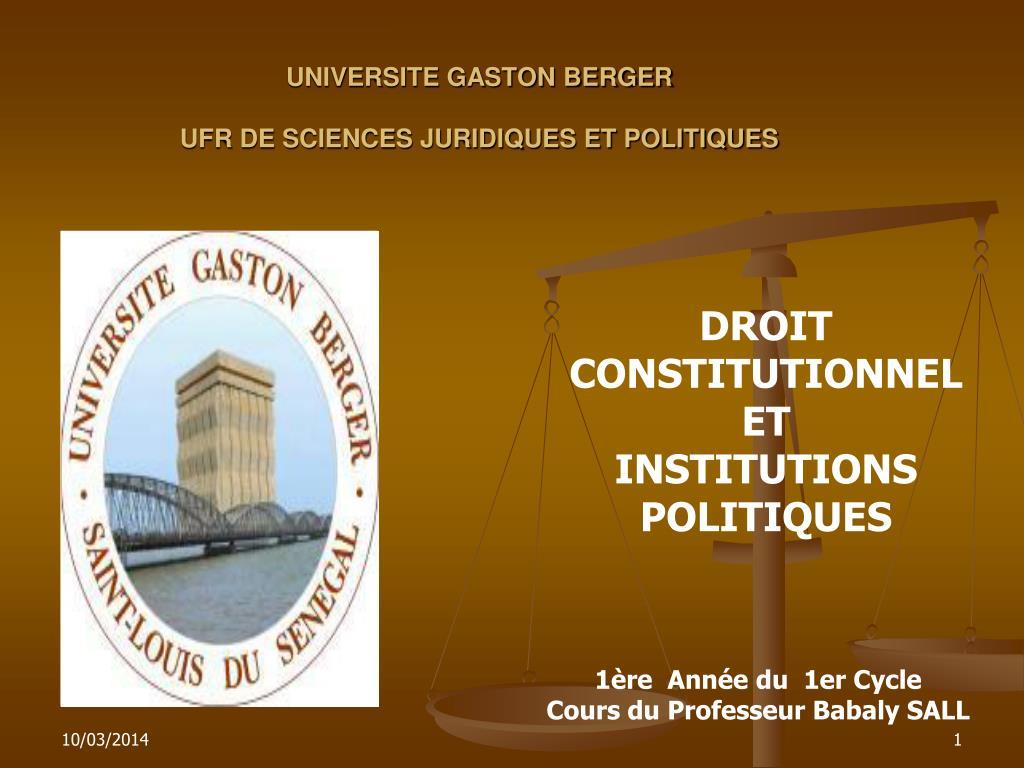 universite gaston berger ufr de sciences juridiques et politiques l.