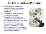 modern occupations professions