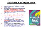 modernity thought control
