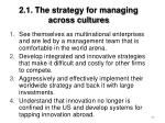 2 1 the strategy for managing across cultures69