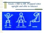 goals hd to hf propped sitter upright and able to interact