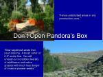 don t open pandora s box