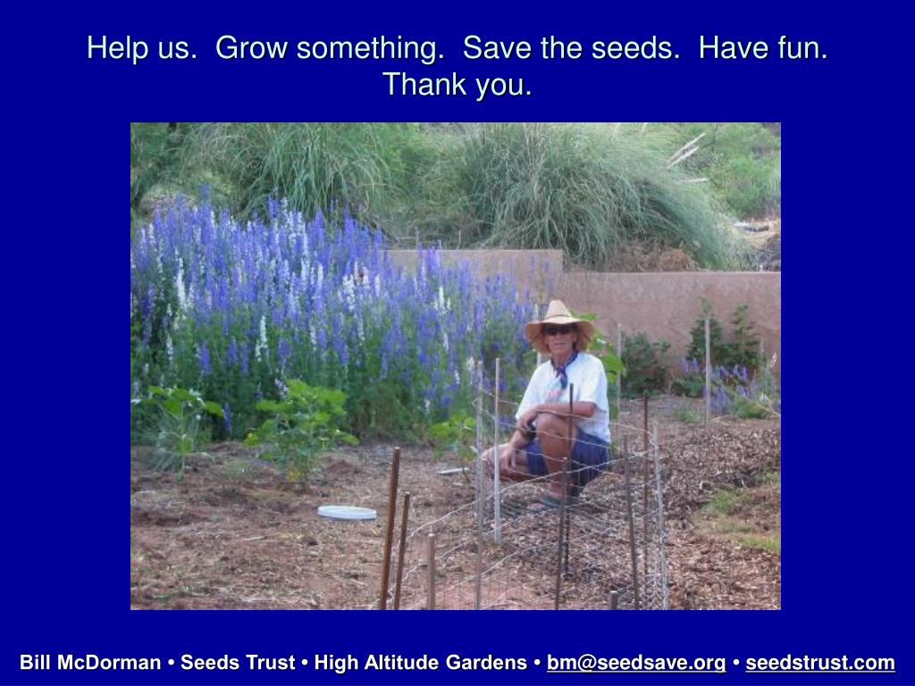 Help us.  Grow something.  Save the seeds.  Have fun.  Thank you.