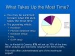 what takes up the most time
