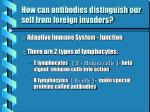 how can antibodies distinguish our self from foreign invaders