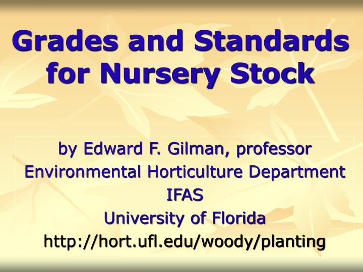 grades and standards for nursery stock n.