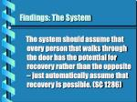 findings the system