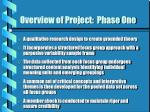 overview of project phase one