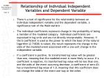 relationship of individual independent variables and dependent variable
