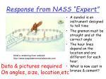 response from nass expert