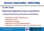generics applicability anda 505 j