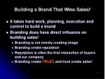 building a brand that wins sales