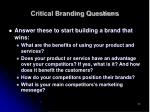 critical branding questions
