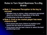 rules to turn small business to a big brand