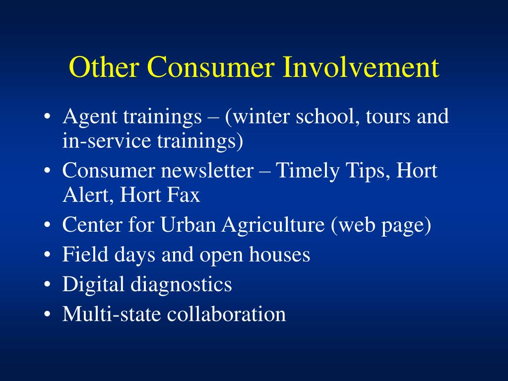 Other Consumer Involvement