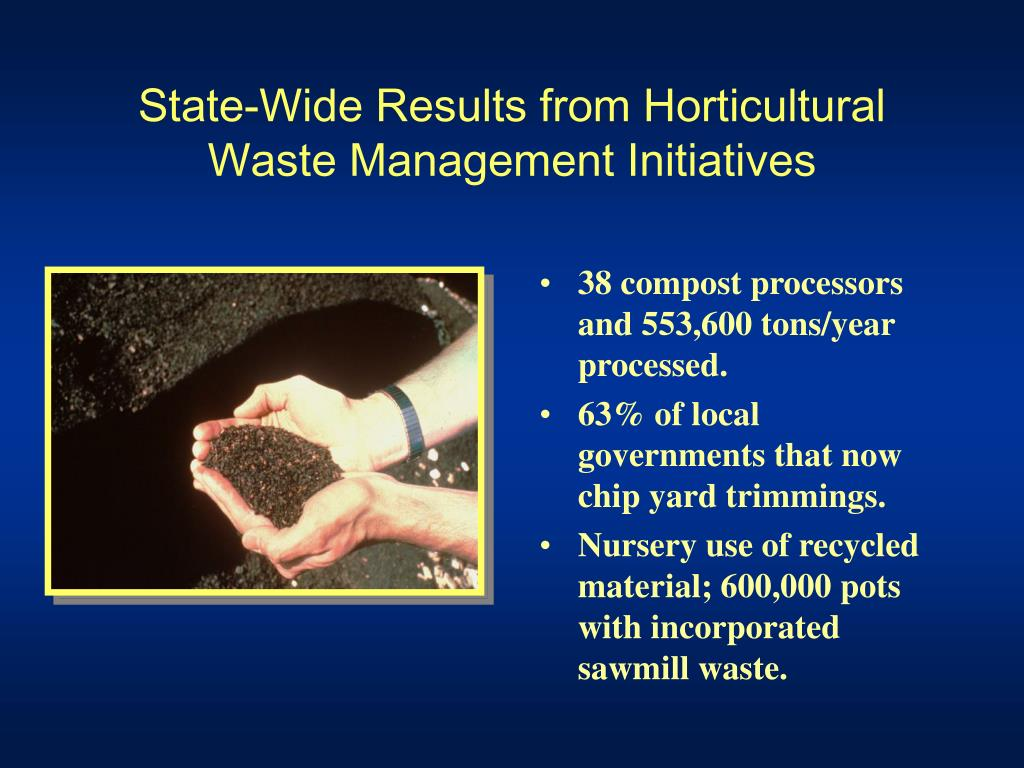 State-Wide Results from Horticultural Waste Management Initiatives