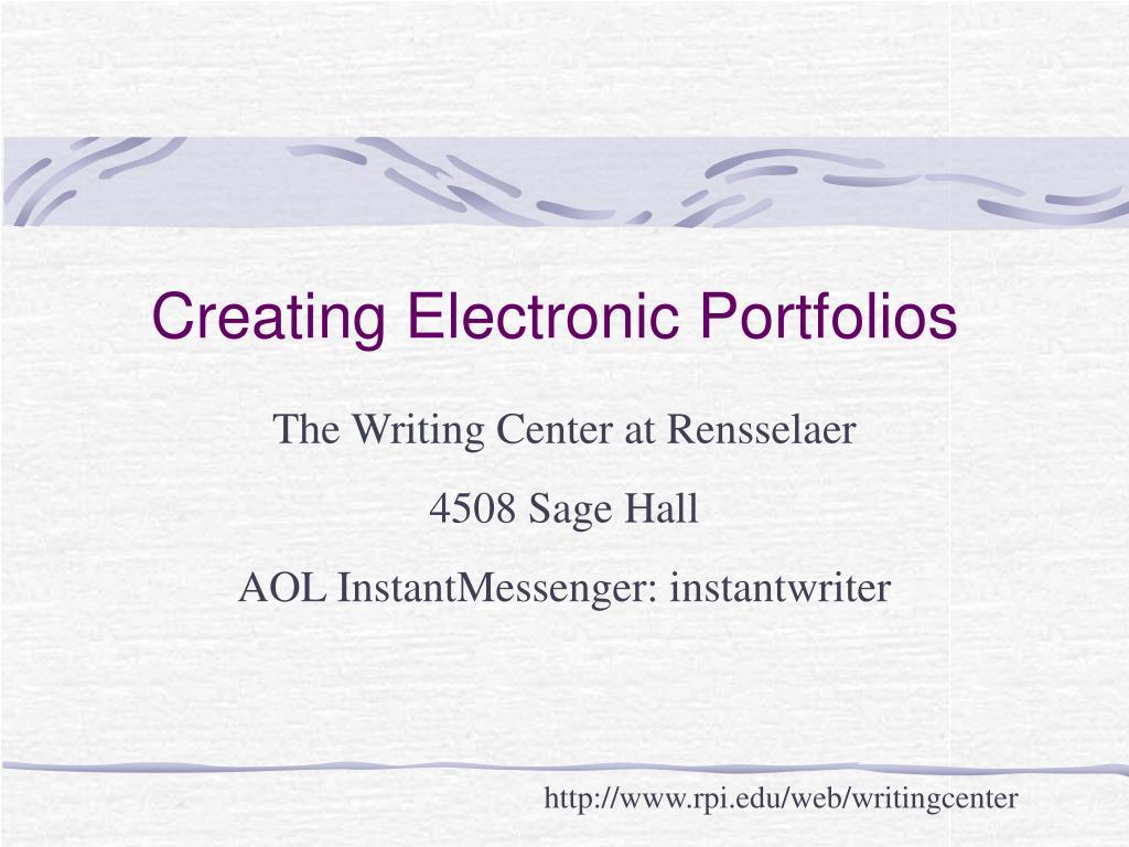 creating electronic portfolios l.