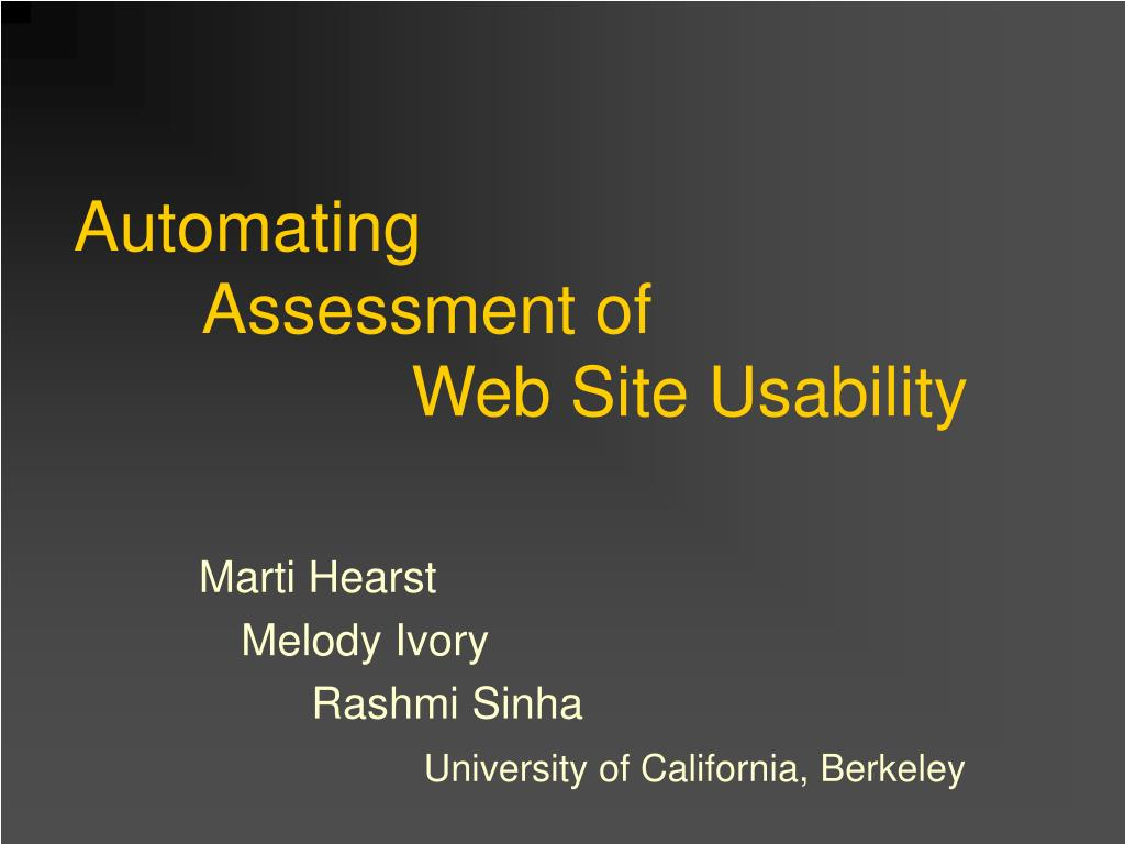 automating assessment of web site usability l.