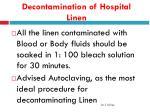 decontamination of hospital linen