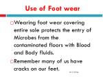 use of foot wear
