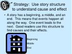 strategy use story structure to understand cause and effect