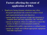 factors affecting the extent of application of dra