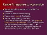 reader s response to oppression