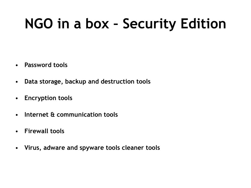NGO in a box – Security Edition