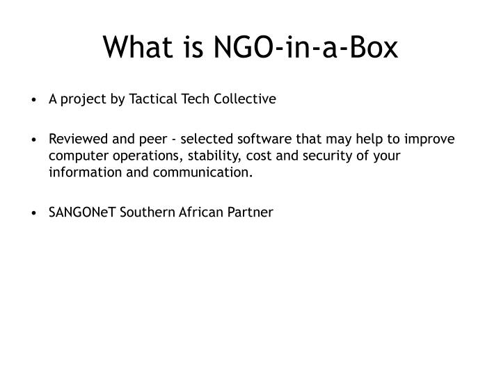 What is ngo in a box