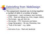 debriefing from webdesign