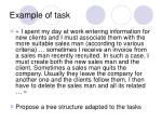 example of task