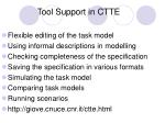 tool support in ctte