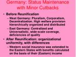 germany status maintenance with minor cutbacks