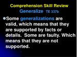 comprehension skill review generalize te 337b6