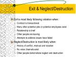 exit neglect destruction