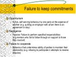 failure to keep commitments