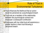 role of trust in environmental turbulence