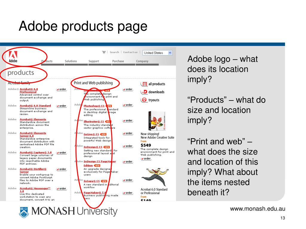 Adobe products page