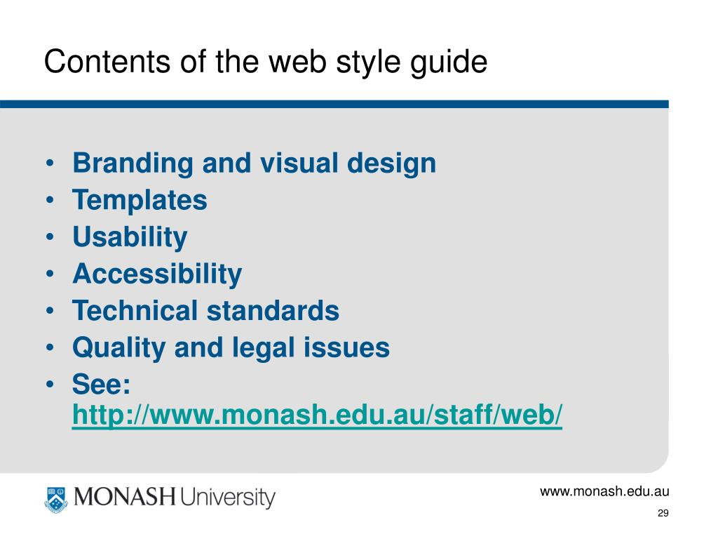 Contents of the web style guide