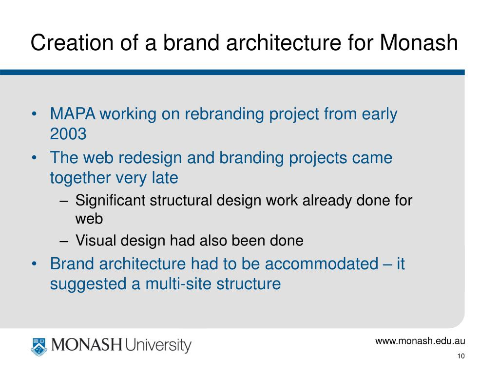 Creation of a brand architecture for Monash