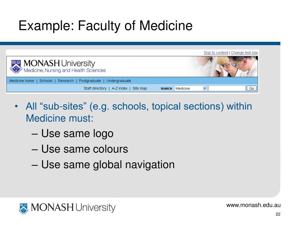 Example: Faculty of Medicine