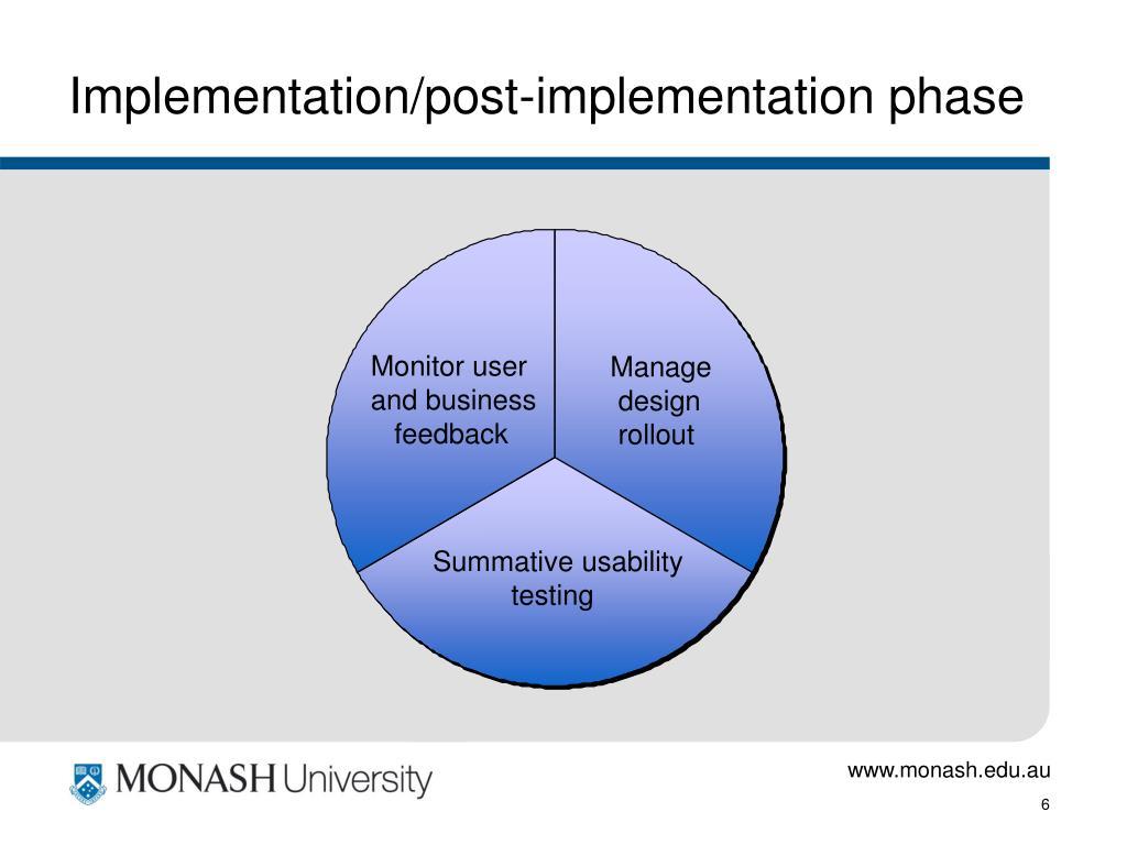 Implementation/post-implementation phase