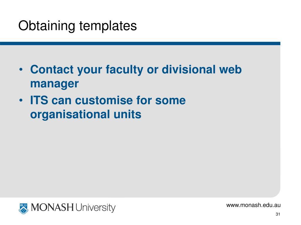 Obtaining templates