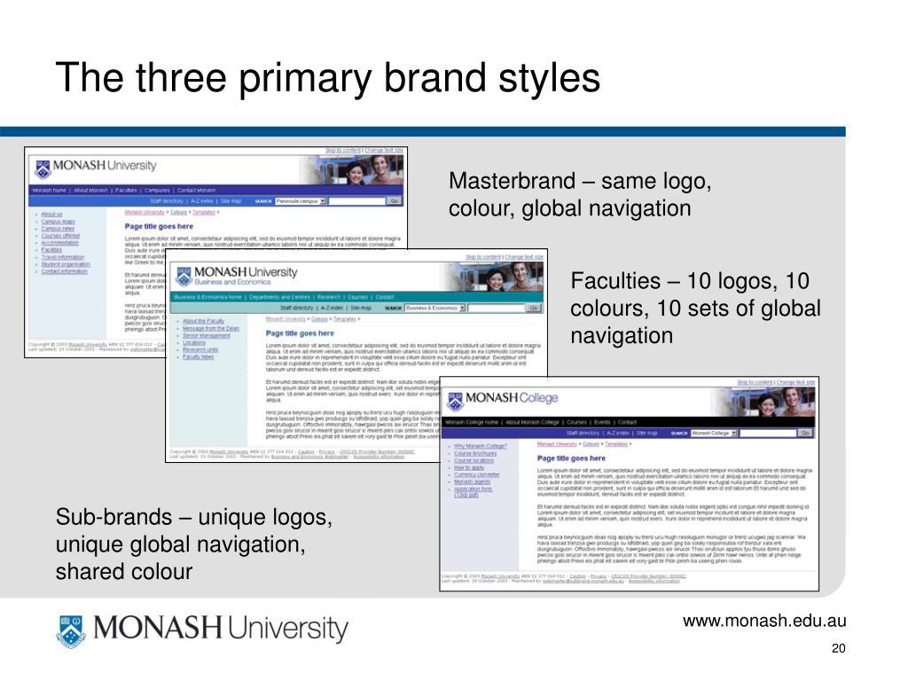 The three primary brand styles